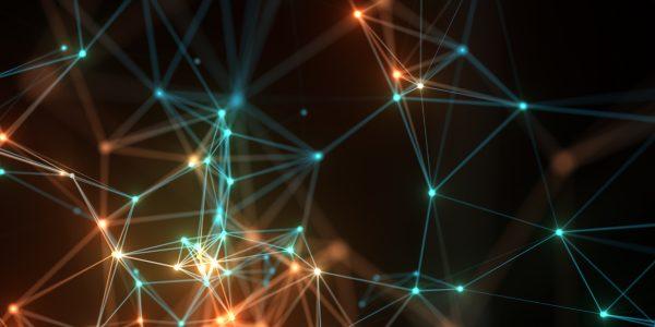 Abstrakte Vernetzungsdarstellung als Metapher für Betriebsmittelfinanzierung aus dem Internet