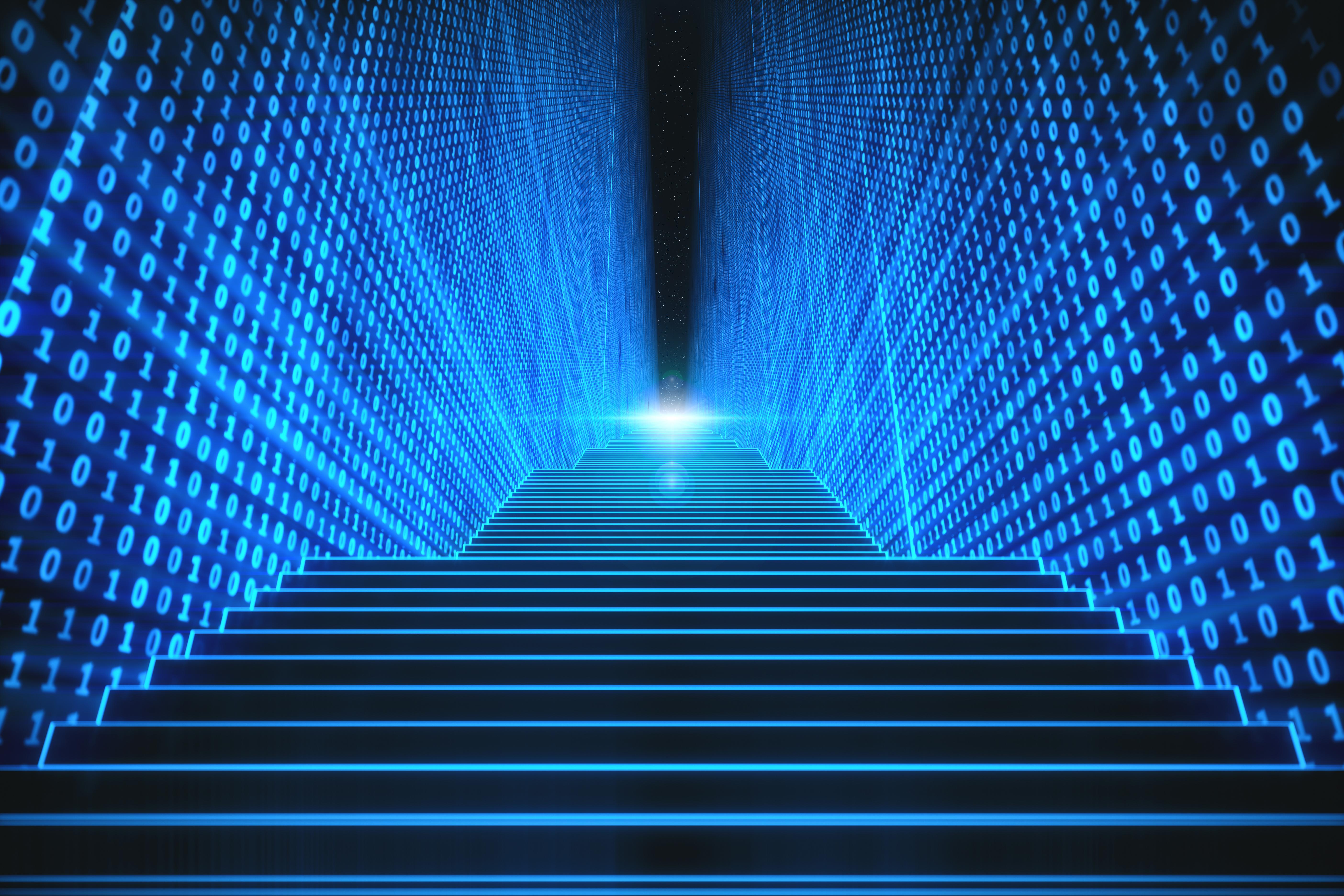 Treppe zwischen binären Wänden als Metapher für BAIT als Katalysator für eine nachhaltige und leistungsfähige ORG/IT