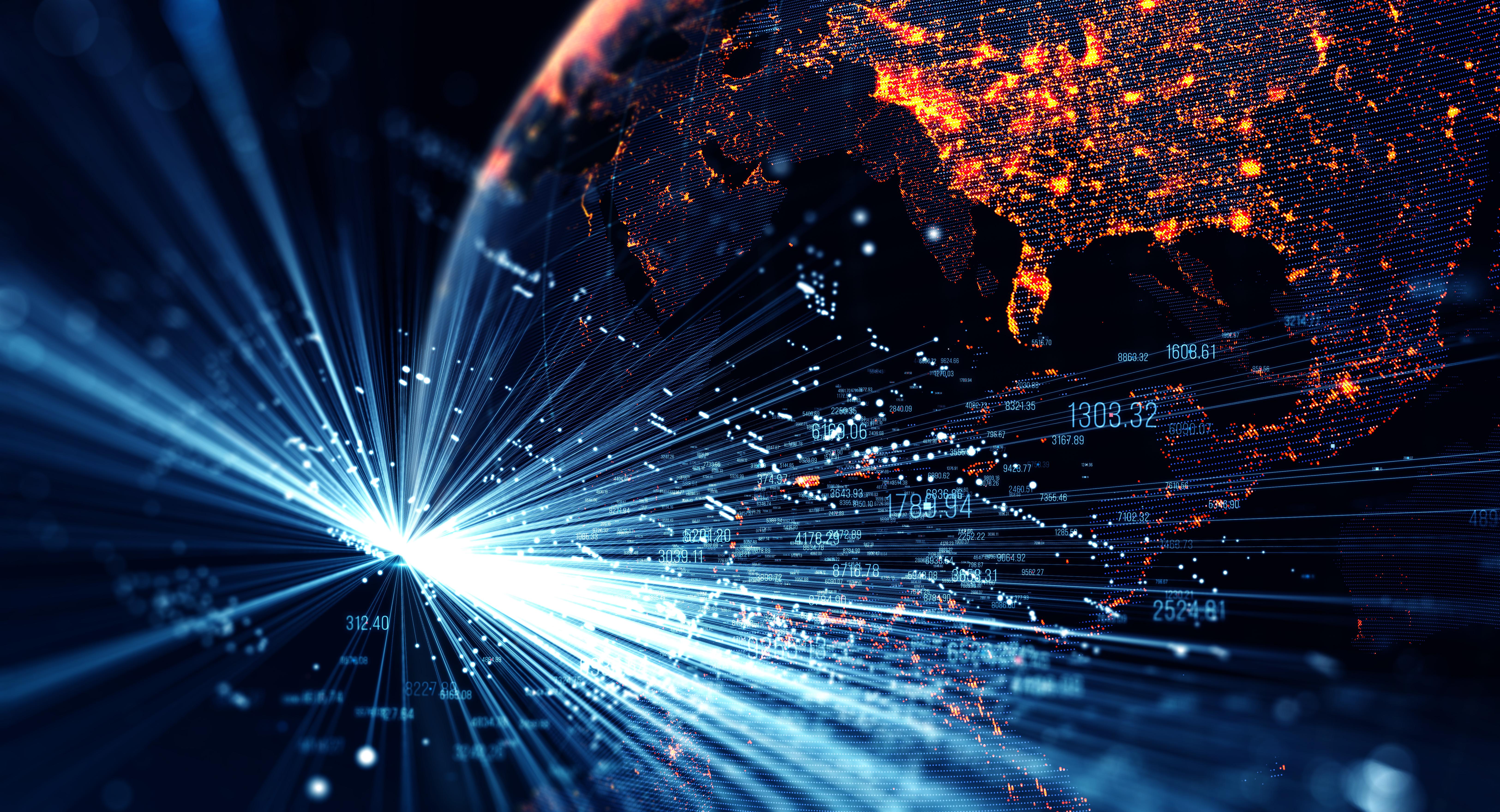 Verbindungslinien über Erdkugel als Symbol für den Hype um Blockchain in der Finanzwelt