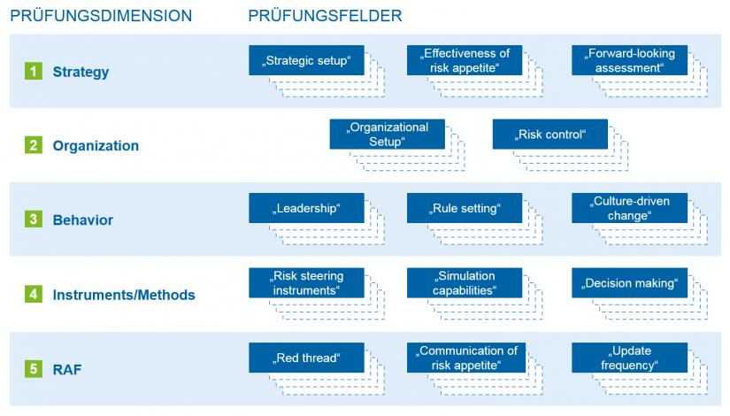 Grafische Übersicht zu Risk Governance: Prüfungsdimensionen und Prüfungsfelder