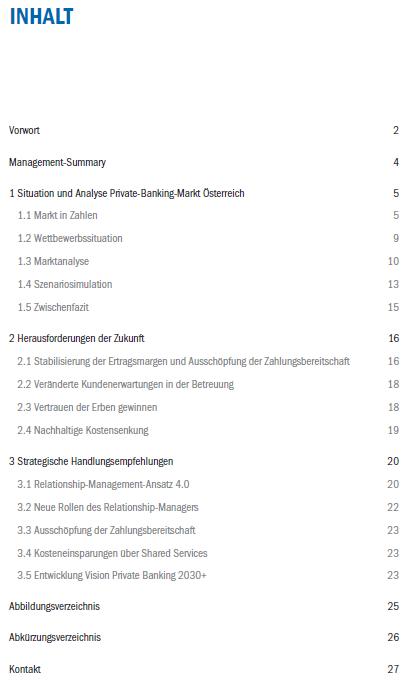 Inhaltsverzeichnis - zeb Private Banking Studie Österreich - 2018