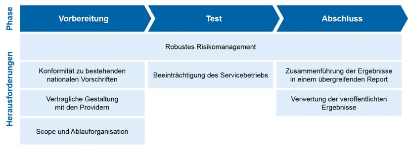 Grafische Darstellung in TIBER-EU – simulierte Cyberangriffe zum Test der Widerstandsfähigkeit / Cybersicherheit / zeb-Einschätzung – Herausforderungen der TIBER-EU-Richtlinie
