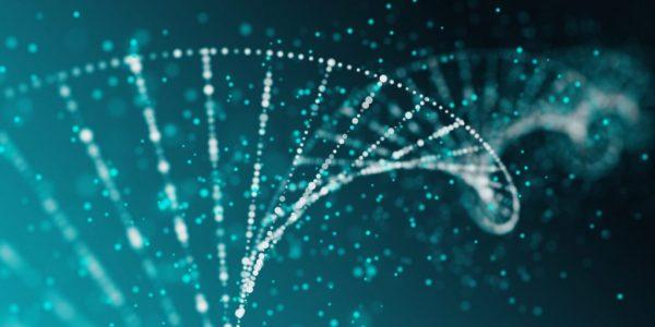 """Blaue DNA als Metapher für """"Wie Banken zu Technologieunternehmen transformieren"""""""