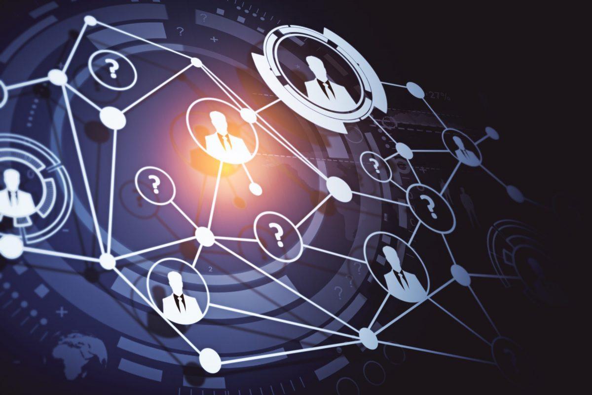 Abstraktes Bild eines Netzwerks, das Personen vernetzt zu Agile Führung – Kontrollieren Sie noch oder vertrauen Sie schon / BankingHub