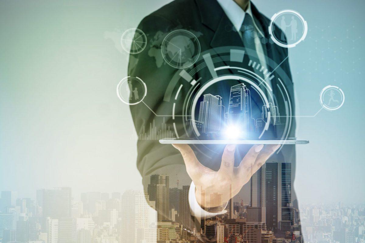 Abstraktes Bild einer vernetzten Immobilie zu_PropTechs – Services und Anwendungsfelder_BankingHub