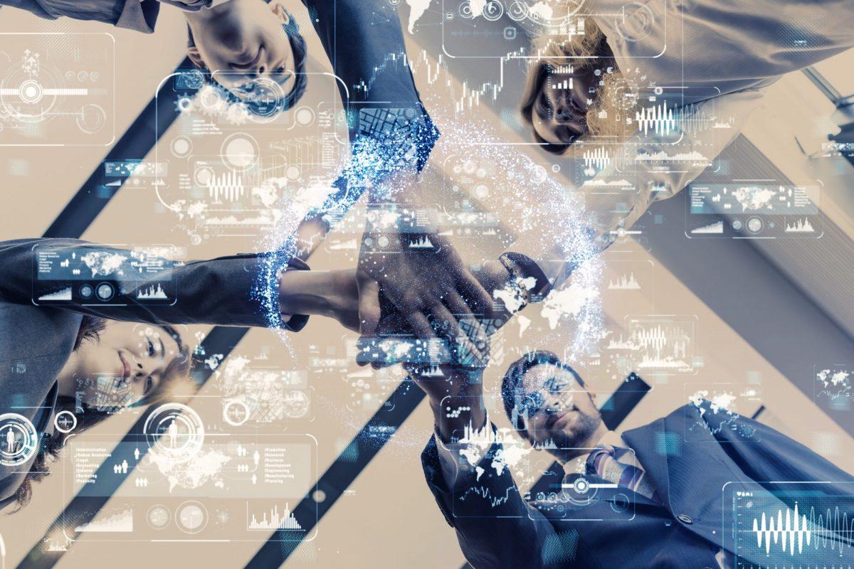 Ansammlung eines Teams als Metpaher für Deutschland sucht den agile Coach / BankingHub