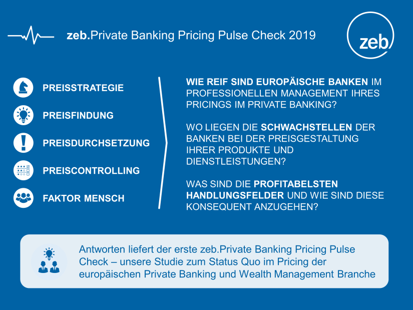 zeb.Private Banking Pricing Pulse Check 2019: Inhalte der Studie zum Status Quo im Pricing / BankingHub