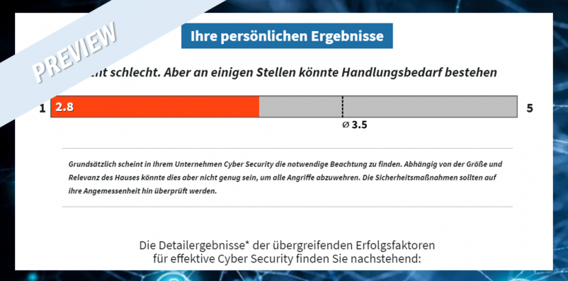 """Preview """"Persönliche Ergebnisse"""": Cyber Security Check-up / BankingHub"""