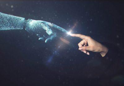 Künstliche Intelligenz trifft auf Mensch / Abstraktes Bild zum zeb KI Quiz