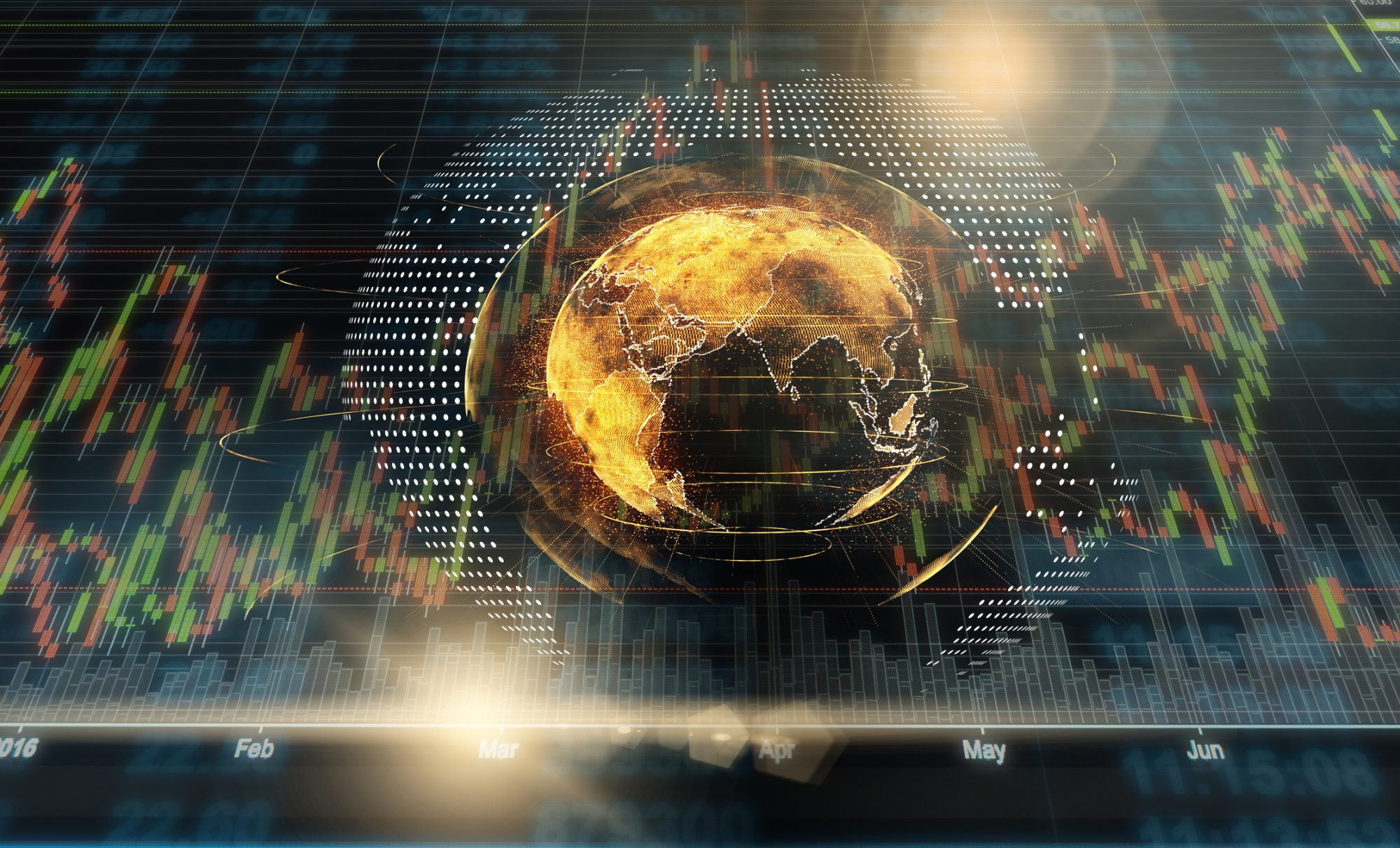 """Abstraktes Bild zeigt Aktienkurse hinter Globus als Metapher für """"Kreditgeschäft in Zeiten von Corona"""""""