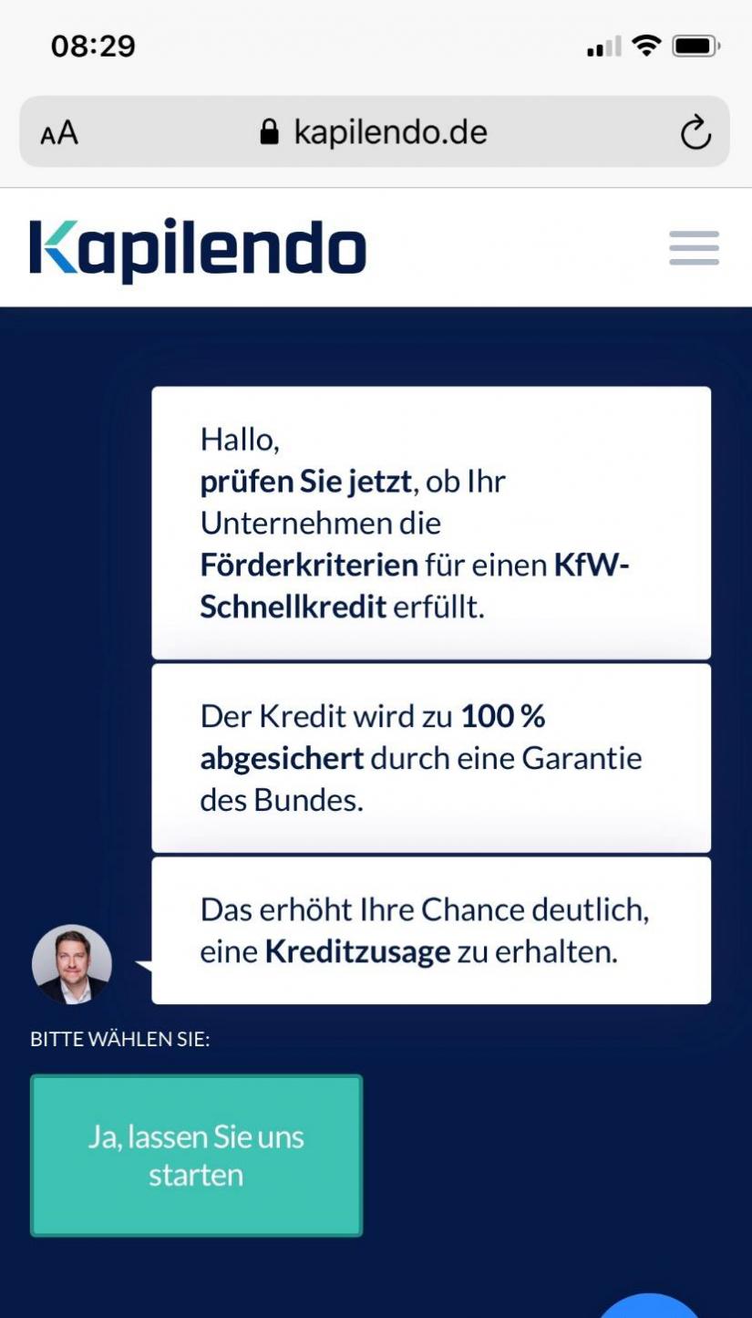 """Chatbot Kapilendo – KfW-Schnellkredit im Artikel """"Finanzierung in Zeiten von Corona"""""""