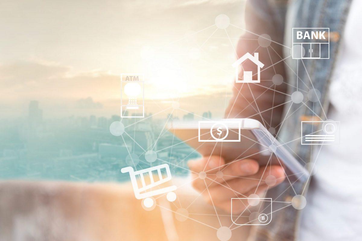 """Abstraktes Netz zwischen Bank und Zahlungsmittel über Smartphone als Metapher für """"Finanzierung von Unternehmen in Zeiten von Corona"""" / Interview mit der Kapilendo AG"""
