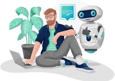 Comichaftes Bild zeigt Kunden im Gespräch mit Robo Advisor / Interview mit VisualVest / Robo Advisory Markt 2020