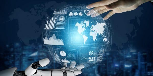 """Robo-Hand und Menschenhand umfassen Marktentwicklungen als Metapher """"Robo Advisory Markt 2020 – Herausforderungen im Zuge der Corona-Krise"""""""
