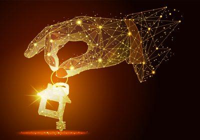 """Digitale Hand greift zum Wohnungsschlüssel als Metapher für Artikel """"Corona Pandemie: Chance für neue Services / Immobilienbewertung und Immobilienbesichtigung im Baufinanzierungsprozess"""""""