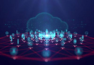 """Abstrakte Tech-Cloud als Metapher für den Artikel """"Cloud für Banken – eine Lebensversicherung"""""""