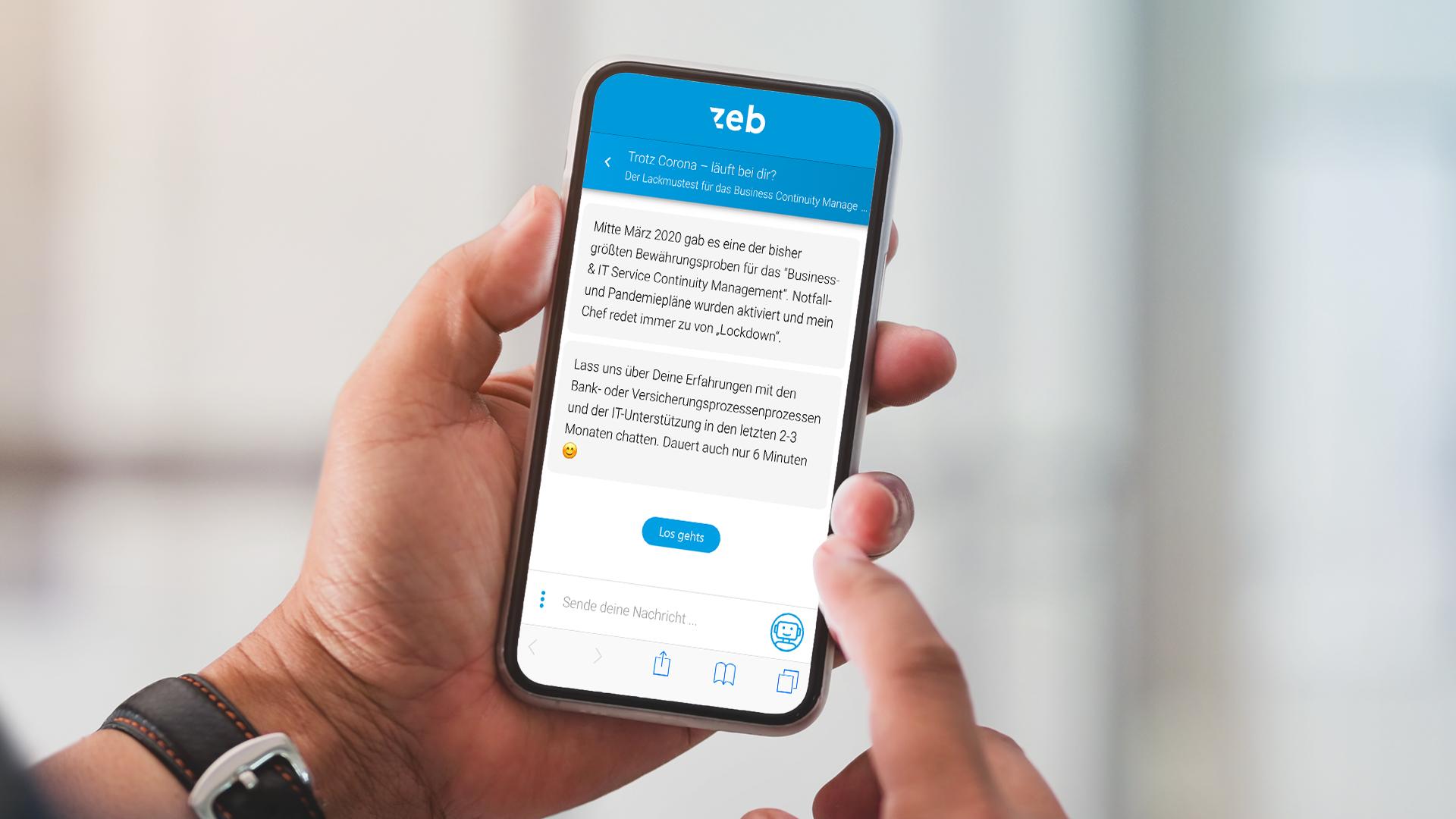 """Coronaumfrage """"Prozesse & IT in der ersten COVID-19-Welle im Finanzsektor"""" auf Smartphone"""