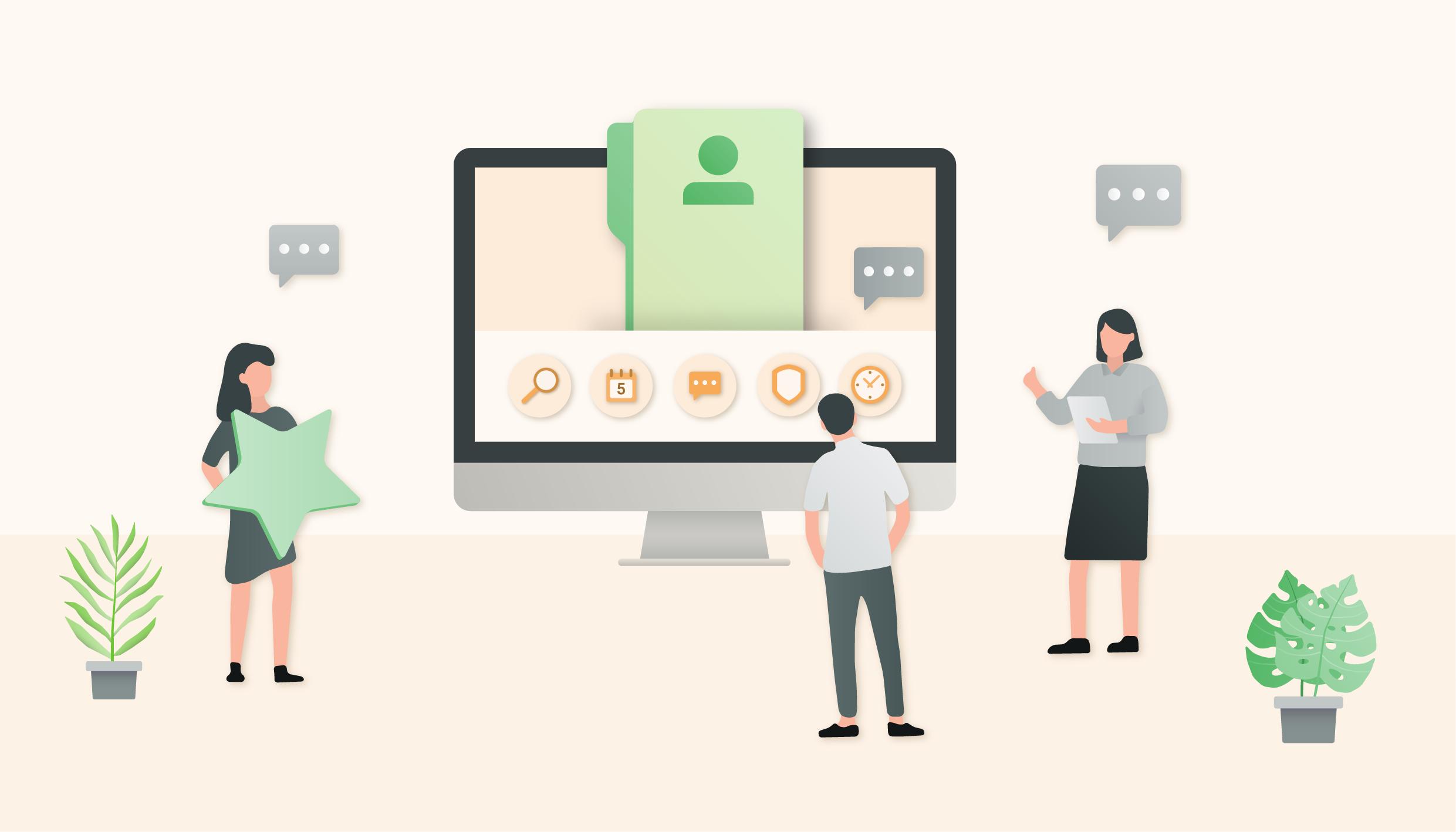 Abstrakte Illustration von Menschen, die auf Studienergebnisse blicken als Metapher für HR Studie: Wie die Digitalisierung die Personalarbeit verändert