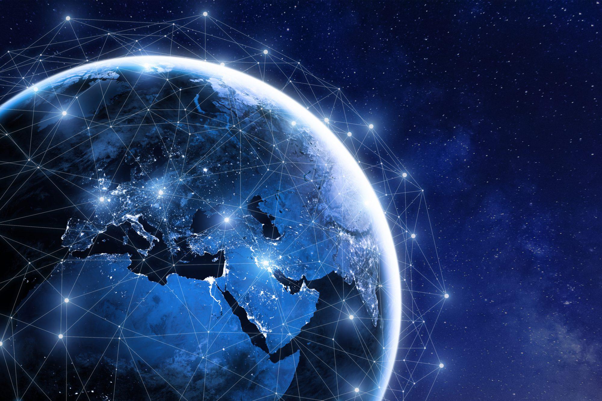 """Globales Netzwerk als Metapher für den Artikel """"Decentralized Finance: Wie können Banken von dezentralisierten Finanzdienstleistungen profitieren?"""""""