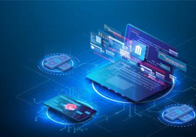 """Digatale Matrix auf Notebook Screen als Metapher für den Artikel """"Digitale Assets als zukünftiger Milliardenmarkt"""""""