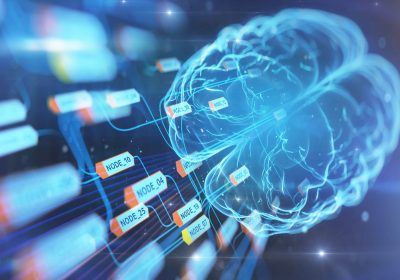 Abstrakte Darstellung eines künstlichen Gehirns das Daten organisiert als Metapher für Predictive Sales Analytics im Firmenkundengeschäft
