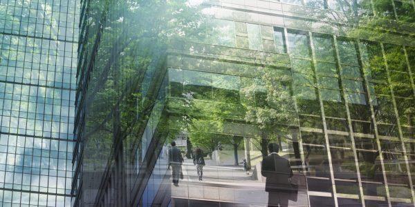 """Businessmenschen im Grünen auf dem Weg zur Arbeit als Metapher für """"Private Banking Studie – Österreich 2020: Nachhaltigkeit als Wachstumschance"""""""