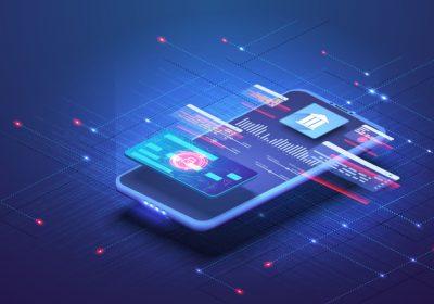 """Abstrakte Darstellung einer Banking-App als Metapher für """"ZAG-Erlaubnisantrag – Herausforderungen und Lösungsansätze"""""""