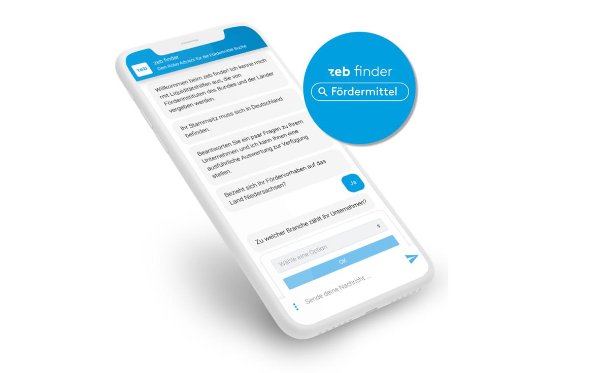 zeb Fördermittelfinder für die Fördermittelsuche: Fördermittel mit Robo Advisor finden / BankingHub