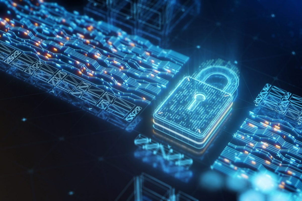 """Digital data security padlock als Metapher für den Artikel """"Wenn Digitalisierung und Innovation auf Datenschutz trifft"""""""